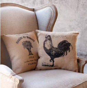 DIY hessian bag cushions country kitchen inspiration