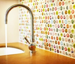 Modern kitchen bottle cap tiles