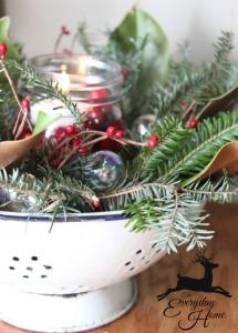 Kitchen colander Christmas decoration ideas