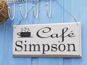 personalised vintage cafe sign