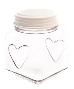 cream heart storage jar
